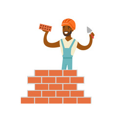 Smiling worker building a brick wall colorful vector