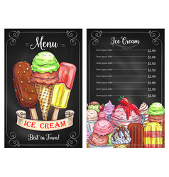 Price menu for ice cream desserts cafe vector