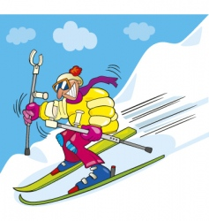 crazy man on ski vector image