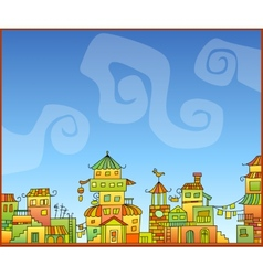 Fairy-tale hand-drawn town vector