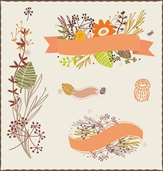 Floral autumn compositions vector