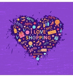 Shopping heart vector image