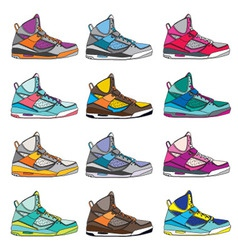 Colorful sneaker set vector