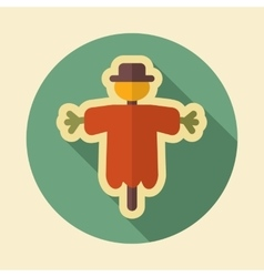 Scarecrow retro flat icon with long shadow vector