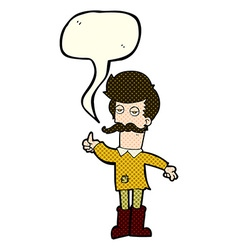 Cartoon old man in poor clothes with speech bubble vector