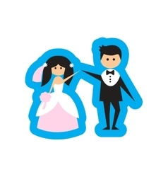 Flat web icon on white background bride and groom vector