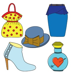 Set of shoes bag skirt hat and perfume bottle vector