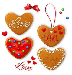 Set of Happy Valentines day cookie vector image