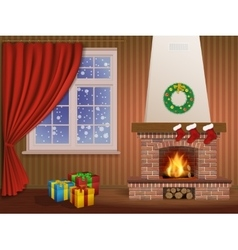 Christmas interior and fireplace vector image