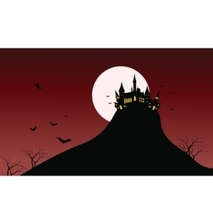 Silhouette of castle halloween in hills vector