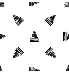 buddha statue pattern seamless black vector image