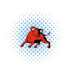 Bull icon in comics style vector