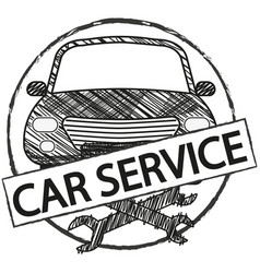 car service retro logo in doodle style vector image vector image