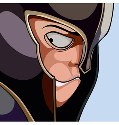 cartoon face of a warrior wearing a helmet vector image