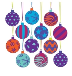 Christmas tree ball icons vector