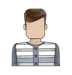 Color blurred stripe of faceless man prisoner with vector