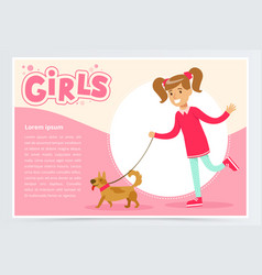 cute beautiful girl walking with her dog girls vector image vector image