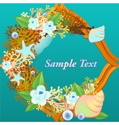Decorative card with corals and flowers vector
