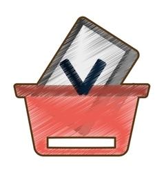 Drawing basket buying online computer wireless vector
