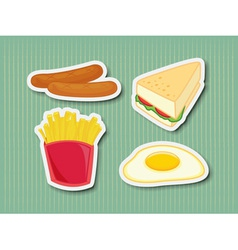 Fast food stickers vector image