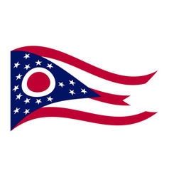 Flag of ohio waving on white background vector