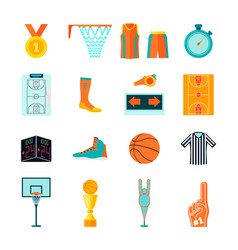 flat basketball icons ball hoop fan equipment vector image vector image