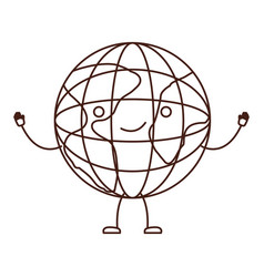 globe world icon kawaii caricature in brown color vector image