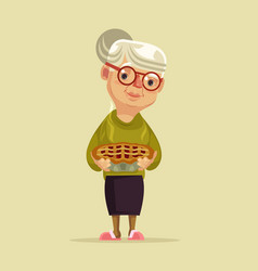 granny character hold pie vector image
