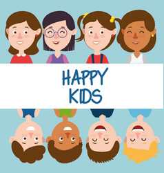 Group of happy kids characters vector