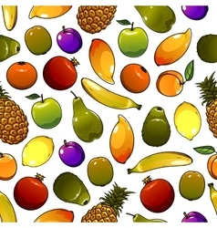 Healthy ripe fruits seamless pattern background vector