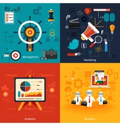 Icons for marketing management analytics vector