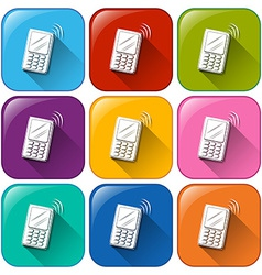 Icons with cellular phones vector