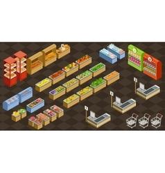 Isometric supermarket vector image vector image