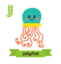 Jellyfish J letter Cute children animal alphabet vector image