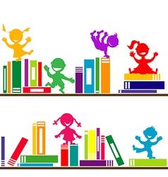 kids playing books Shelves vector image