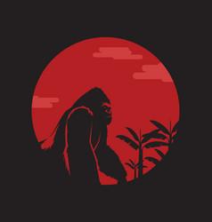 King kong or gorilla under moon logo template vector