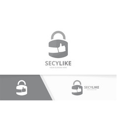 Lock and like logo combination safe and vector