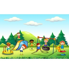 Many kids playing in the playground vector