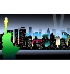 New York at Night and Statue of Liberty vector image vector image