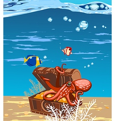 octopus in the sea in a chest of treasures vector image vector image