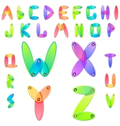 Rainbow candy alphabet with multicolored jems vector image vector image
