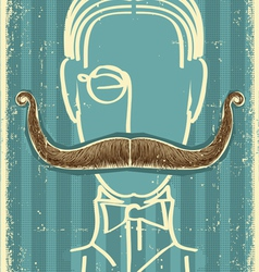 retro man and mustache vector image vector image