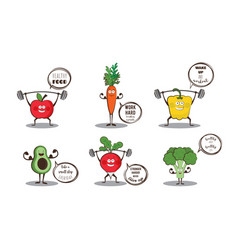 Set of cute fruits and vegetables doing sport with vector