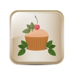 square button with cupcake and leaves vector image vector image