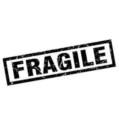 Square grunge black fragile stamp vector