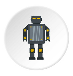 Steel robot icon circle vector
