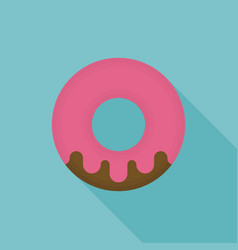strawberry donut icon vector image vector image