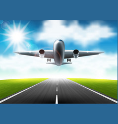 the airplane flying over the runway vector image