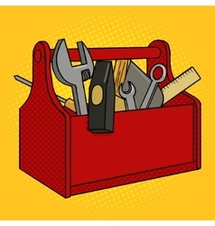 Toolbox red color pop art style vector image