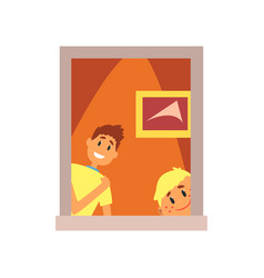 Two smiling kids looking out of window boys vector